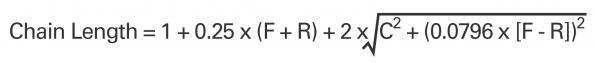уравнение для вычисления длины цепи велосипеда